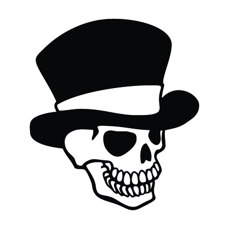 ghostly: Vector Monochrome Outline Shape of Spooky Man Skull Skeleton Wearing a Victorian Style Top Hat Illustration