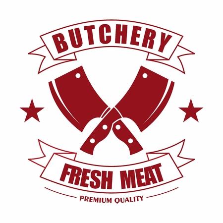 ベクトル簡単なレトロなビンテージ精肉店新鮮な肉料理に対するタイポグラフィ リボン付き包丁ロゴを超えました。  イラスト・ベクター素材