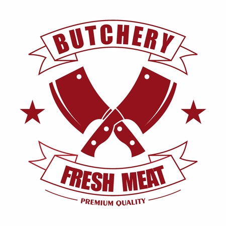Vector Simple Retro Vintage Butchery Crossed Cleavers Logo With Typography Ribbon for Fresh Meat Food 일러스트