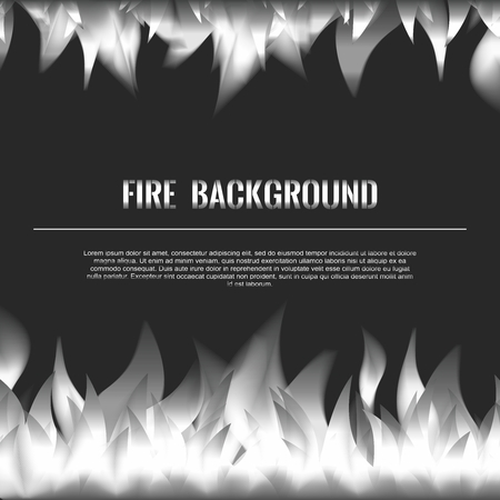barbecue stove: Vector Realistic Fire Flames Poster Banner Black Color Background, Silvery White Flame
