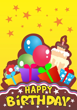 Vector Creative Cartoon Playful Happy Birthday Invitation Card, with cakes, balloons, presents and chocolate