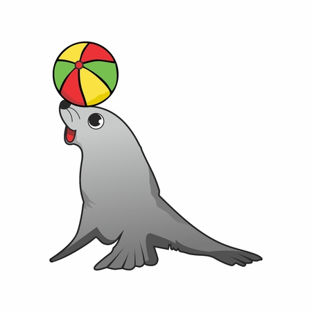 Vector Cartoon Seal Performing with Beach Ball Spinning on its head Illustration