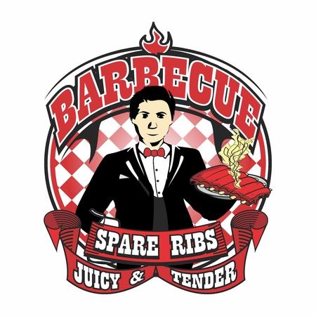 バーベキュー炭火焼きおいしいジューシーなもち豚スペアリブのベクトル ウェイター マスコット ロゴ イラスト テンプレート