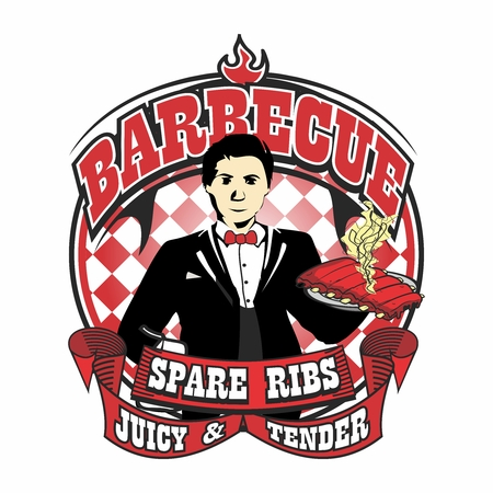 pig roast: Vector Waiter Mascot Logo Illustration Template of Barbecue Char Grilled Tasty Juicy Tender Pork Spare Ribs Illustration