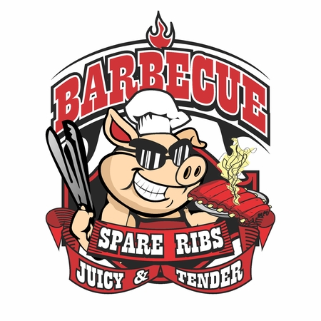 pig roast: Vector Cartoon Pig Character Mascot Logo Illustration Template of Barbecue Char Grilled Tasty Juicy Tender Pork Spare Ribs
