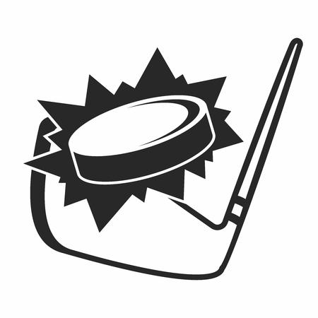 won: Monochrome Closeup Cartoon Illustration of Ice Hockey Stick hitting the Puck isolated on white background