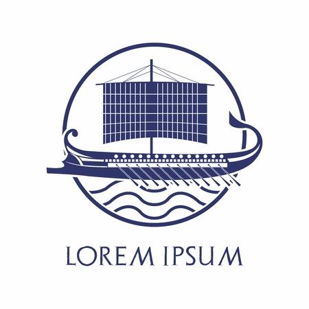 Vector Logo Design van het oude houten trireme boot schip van de Griekse, Rome, Romeinse, Fenicische Silhouette Stock Illustratie