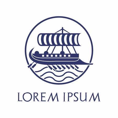 Vector Logo Design of Ancient wooden trireme boat vessel of Greek, Rome, Roman, Phoenician Silhouette Illustration