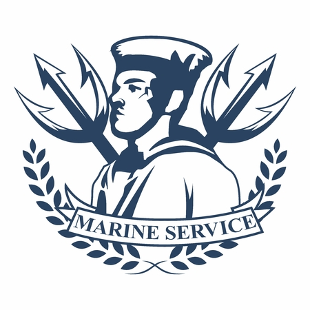 ceremonial: Vector retro logo badges of navy marine military service, with tridents and silhouette of marine officer in ceremonial uniform