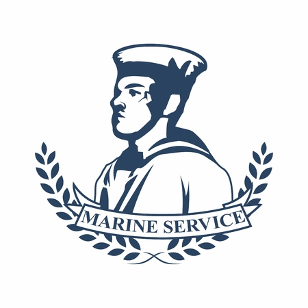 affair: Vector retro logo badges of navy marine military service, with silhouette of marine officer in ceremonial uniform