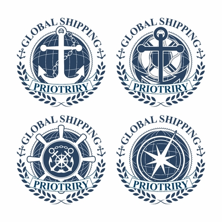 dockyard: Vector Nautical logo badges and emblems set in heraldic style with anchors, steering wheel, chains, compass, rope and lifebuoy