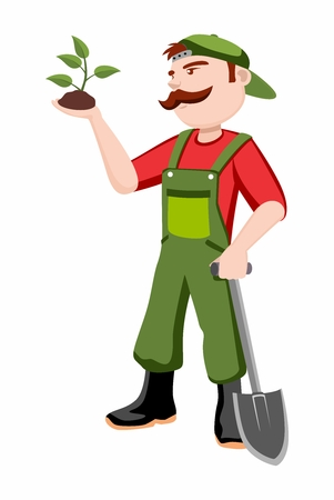 floriculturist: Cartoon Gardner Man caring for young growing plant on hand, with the other hand holding a shovel