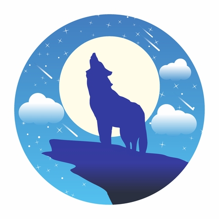 alone in the dark: Vector Silhouette Wolf howling at the moon ,Halloween illustration background