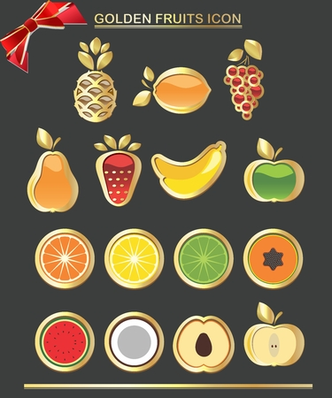 nourishment: Vector Collection of Fresh Fruit Icon with Luxury Golden Border isolated Illustration
