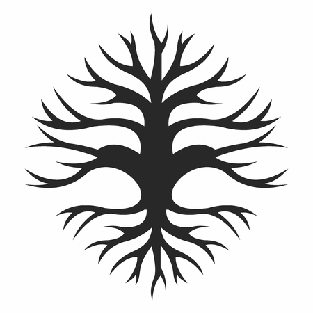 Vector Abstract Creative Old Wisdom Tree Trunk Silhouette, with branches and roots isolated on white background Illustration