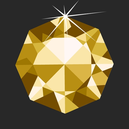 shinning: Vector Realistic 3D Octagon Yellow Diamond Jewelry Gemstones isolated