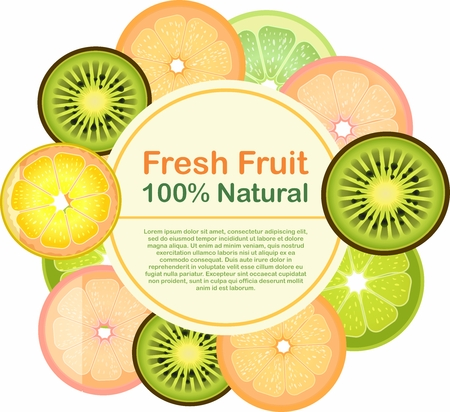 Vector Fruit Label Composition Packaging Sticker Template, citrus and kiwi fruit design Illustration