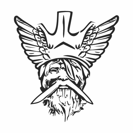 Vector Old Norse God Decal, Decal Face Outline of Almighty Odin, isolated on white background Illustration