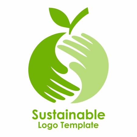有機と持続可能な緑の野菜食糧のベクトル緑ロゴ デザイン テンプレート