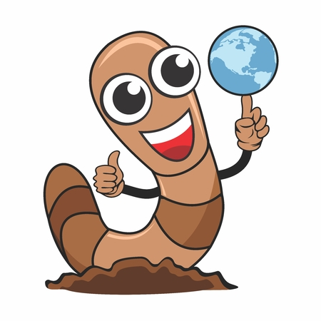 Vector Cartoon Character of Adorable Cute Worm with thump up gesture, and the other hand with a spinning globe Illustration