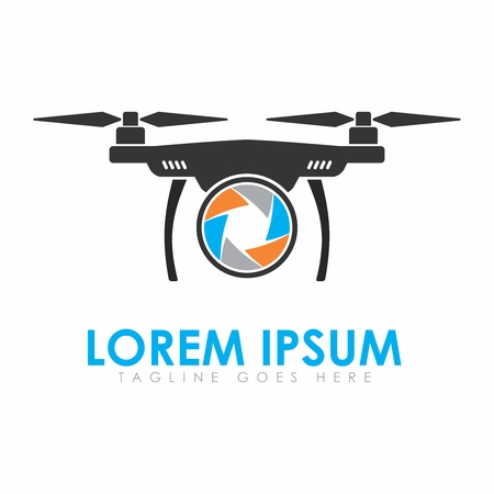 Vector Minimal Logo Design Template for UAV Quadcopter Drone for Aerial Photography