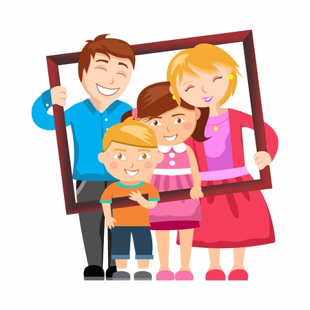 Vector Cartoon Illustration of Household Family Members Gathering together holding a photo frame for picture