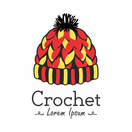 Vector Colorful and Happy Mascot logo for crocheting, tatting, lace making and handmade do it yourself fashion projects Illustration