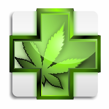 Vector 3D Symbol of Medical Marijuana in a Green Cross isolated on white background