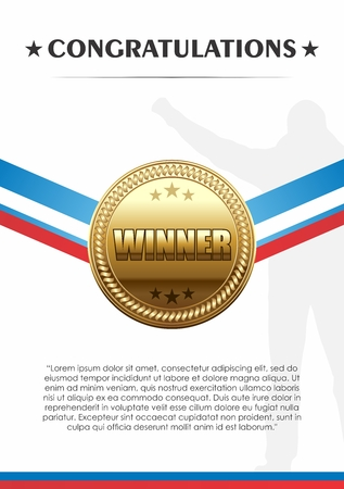 sports winner: Vector Champion Trophies of Gold Medal with Ribbon Congratulation Banner Template Illustration