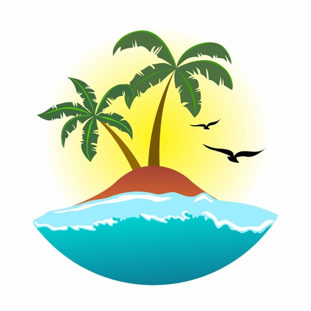 tropical tree: Tropical Summer Holiday Background illustration, sunshine, beach, palm tree and seaside