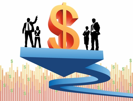financial growth: Vector Conceptual Art of Financial Revenue Growth Report Illustration