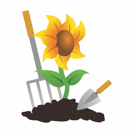 Vector Cute Cartoon Sunflower Cultivation with pitchfork and shovel