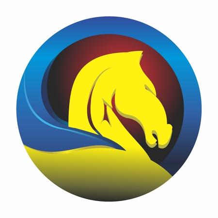 Vector 3D Retro Creative Artistic Trojan Horse Shield Emblem Illustration