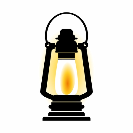 lighten: Vector Vintage Glowing Oil Lamp Illustration isolated on white background.
