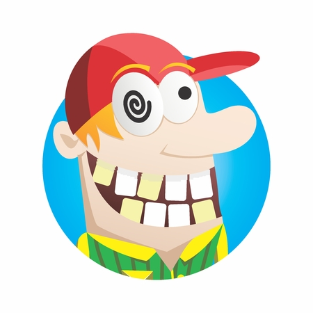 hysterics: Vector Happy and Cheerful Madman Head Mascot