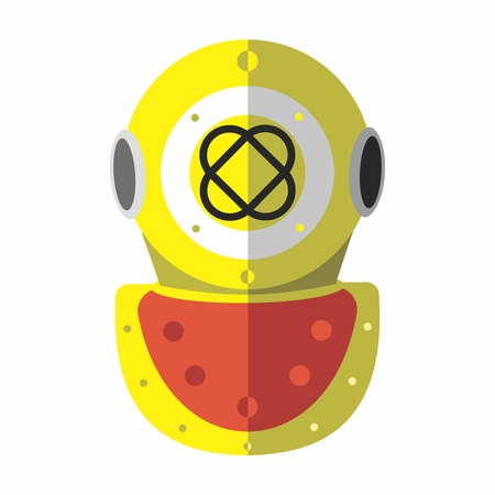 deep sea diver: Vector Vintage Old Fashion Scuba Metal Diving Helmet Design isolated on white background.