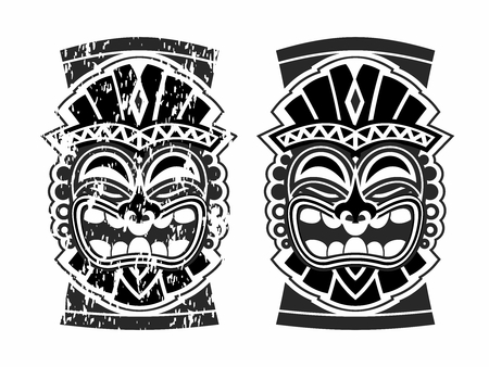 Vector Happy Tribal Hawaiian Ethnic Tiki Mask and Totem Design 向量圖像