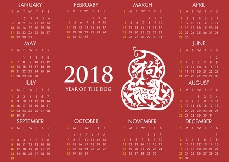 Vector 2018 Calender with Year of Dog Chinese Theme