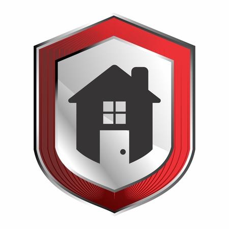 Vector Conceptual Logo Symbol of Futuristic Home Security Illustration