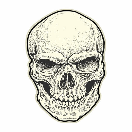 Vector Illustration of Scary Human Skull isolated on white background