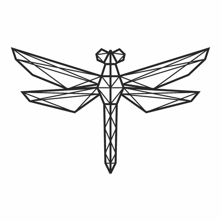 Vector Abstract Polygonal Geometric Dragonfly Wire frame Outline Illustration