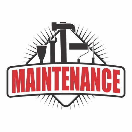 Vector Logo Sticker of Home Maintenance, with different type of handyman equipments Ilustração