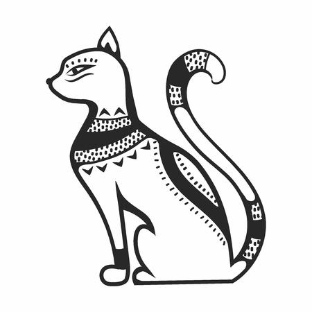 cat goddess: Vector Egypt cat goddess Bastet, Egyptian god, ancient figurine sitting, black statue feline