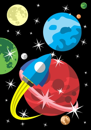 Vector Creative Flat Scene of Space Interstellar Travel, Adventure, Discovery, Immigration
