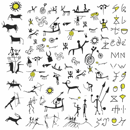 Vector Conceptual Doodles of Stone Age Carving Art Illustration