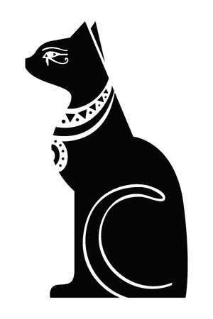 Vector Egypt cat goddess Bastet, Egyptian god, ancient figurine sitting, black statue feline