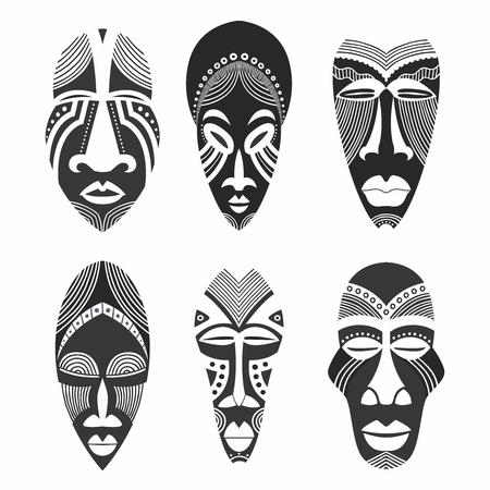 Colección de ilustraciones de la máscara tribal étnica africana creativa del vector Foto de archivo - 79332994