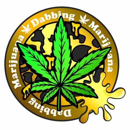 Stamp with marijuana pot leaf emblem, Cannabis leaf silhouette symbol
