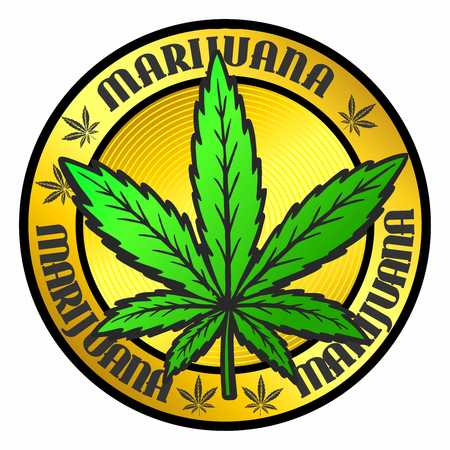 Stamp with marijuana pot leaf emblem, Cannabis leaf silhouette symbol