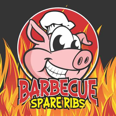 spare ribs: Vector Cartoon Pig Character Mascot Logo Illustration Template of Barbecue Char Grilled Spare Pork Ribs